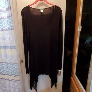 Black tunic with fringe